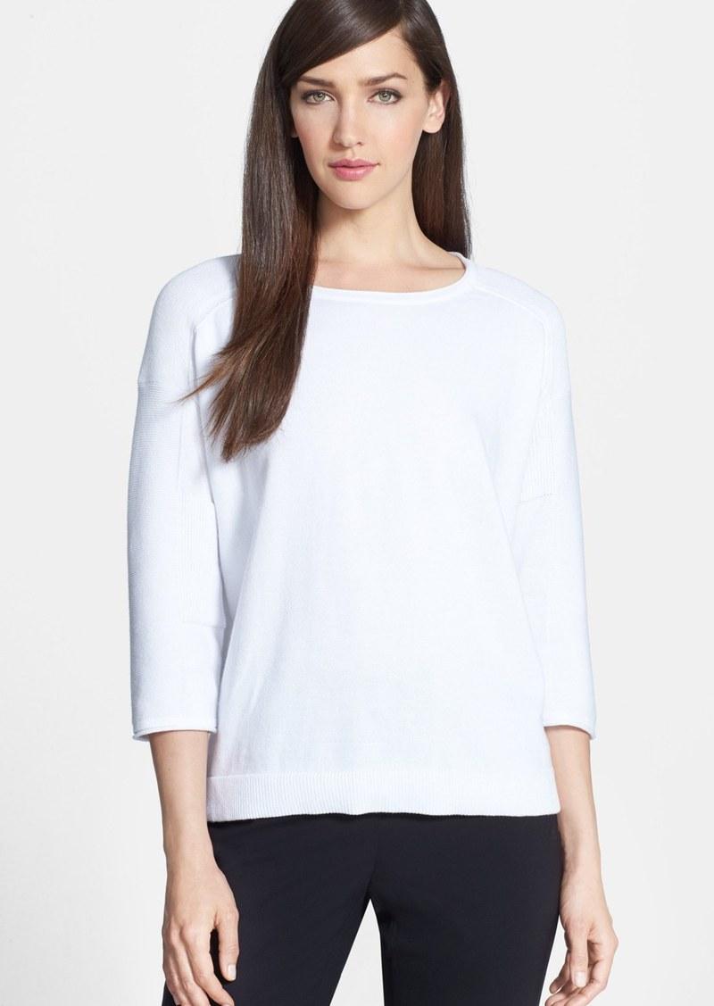 Lafayette 148 New York Textured Sleeve Cotton Sweater