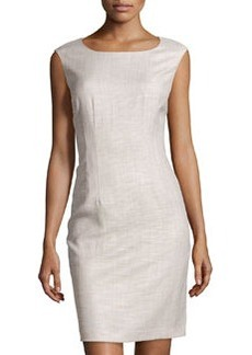 Lafayette 148 New York Textured Sleeveless Sheath Dress, Khaki