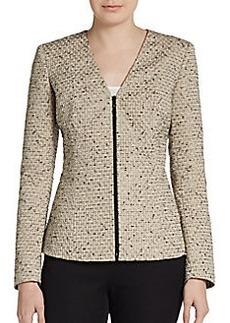 Lafayette 148 New York Textured Two-Way Zip Jacket