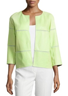 Lafayette 148 New York Three-Quarter Sleeve Leather Jacket Topper, Chartreuse