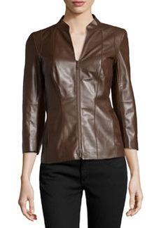 Lafayette 148 New York Three-Quarter-Sleeve Leather Jacket, Woodland