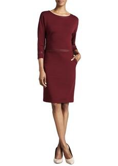 Lafayette 148 New York Three-Quarter-Sleeve Leather-Trim Dress