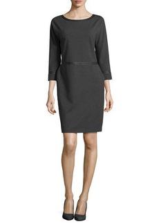 Lafayette 148 New York Three-Quarter-Sleeve Leather-Trim Dress, Smoke