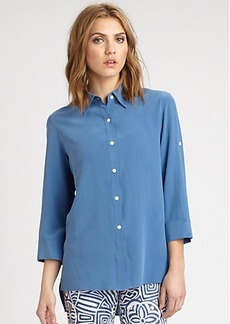 Lafayette 148 New York Three-Quarter Sleeve Silk Blouse