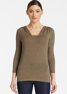 Lafayette 148 New York Three Quarter Sleeve Square Neck Metal Detail Top