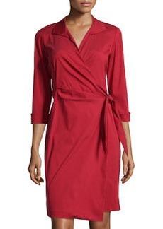 Lafayette 148 New York Three-Quarter-Sleeve Wrap Shirtdress, Snapdragon