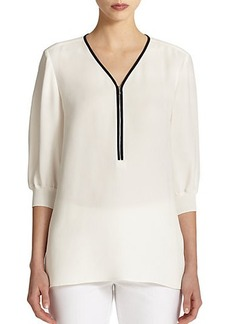 Lafayette 148 New York Tiara Zip-Front Silk Blouse