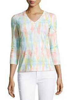 Lafayette 148 New York Tie-Dye Long-Sleeve Tee, Peach/Multi