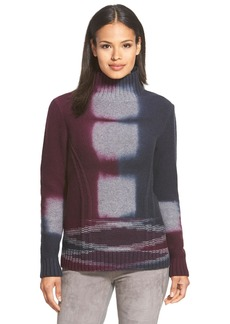Lafayette 148 New York Tie Dye Merino & Cashmere Turtleneck Sweater
