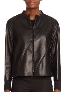 Lafayette 148 New York Tissue-Weight Leather Lunette Jacket