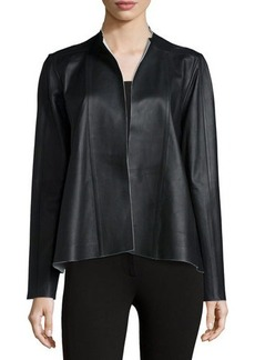 Lafayette 148 New York Trina Long-Sleeve Leather Topper