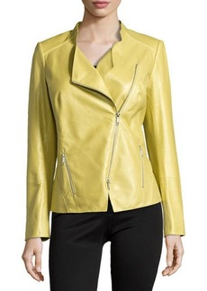 Lafayette 148 New York Trinity Leather Moto Jacket