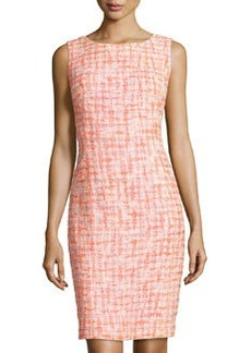Lafayette 148 New York Tweed Pencil Dress, Peach/Multi