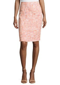 Lafayette 148 New York Tweed Pencil Skirt, Peach/Multi