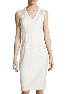 Lafayette 148 New York Tweed Sleeveless V-Neck Dress