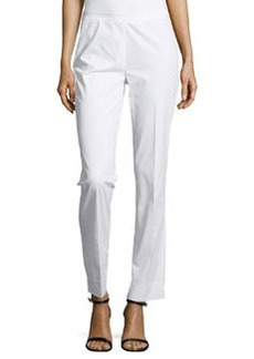 Lafayette 148 New York Twill Side-Zip Cropped Pants, White