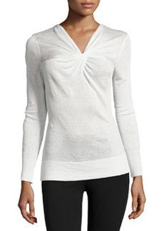 Lafayette 148 New York Twist-Knot Long-Sleeve Sweater, Cloud