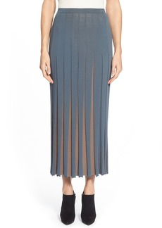 Lafayette 148 New York Two-Tone Pleated Maxi Skirt