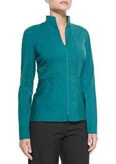 Lafayette 148 New York Two-Zip Cotton-Stretch Shirt, Winter Green