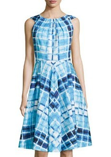Lafayette 148 New York Uma Geometric-Print Dress, Waterfall