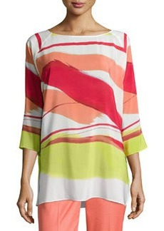 Lafayette 148 New York Uneven-Stripe 3/4-Sleeve Blouse, Geranium/Multicolor