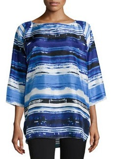 Lafayette 148 New York Uneven-Stripe Silk Blouse, Navy/Multicolor