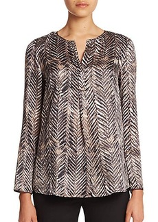 Lafayette 148 New York Urbane Chevron-Printed Silk Bracelet-Sleeve Samantha Top