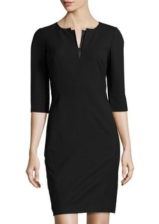 Lafayette 148 New York V-Neck 3/4-Sleeve Pencil Dress