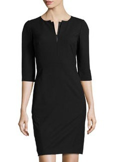 Lafayette 148 New York V-Neck 3/4-Sleeve Pencil Dress, Black