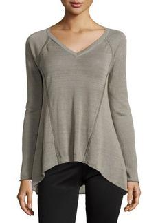 Lafayette 148 New York V-Neck High-Low Raglan Sweater