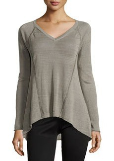 Lafayette 148 New York V-Neck High-Low Raglan Sweater, Mica