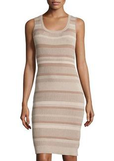 Lafayette 148 New York Vanse Ribbed Sleeveless Sheath Dress
