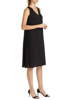 Lafayette 148 New York Vaughn Side-Pleated A-line Dress, Black
