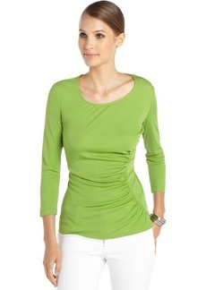 Lafayette 148 New York verde green silk woven 3/4 sleeve ruched 'Eclipse' top
