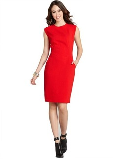 Lafayette 148 New York vermilion stretch wool 'Cosette' cap sleeve shift dress