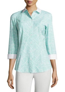 Lafayette 148 New York Violet Striped 3/4-Sleeve Blouse