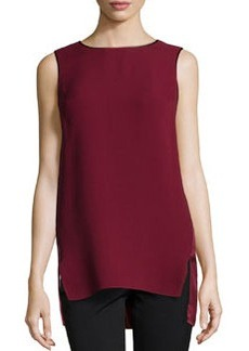 Lafayette 148 New York Vivian Leather-Trimmed Silk Combo Top, Merlot