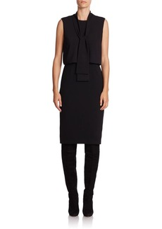 Lafayette 148 New York Vivica Crepe and Georgette Bow-Neck Dress