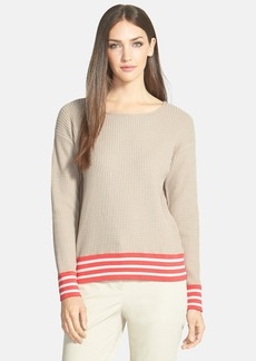 Lafayette 148 New York Waffle Stitch Cotton Sweater