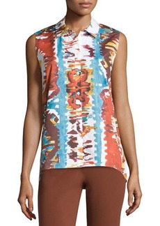 Lafayette 148 New York Watercolor Sleeveless High-Low Blouse