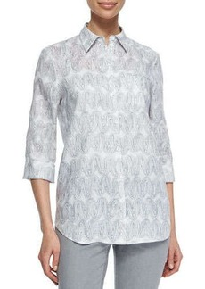 Lafayette 148 New York Wave Art Print 3/4-Sleeve Shirt, Gray
