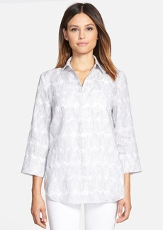 Lafayette 148 New York 'Wave Art' Print Linen Shirt
