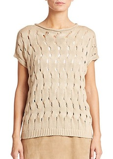 Lafayette 148 New York Wave-Embroidered Top