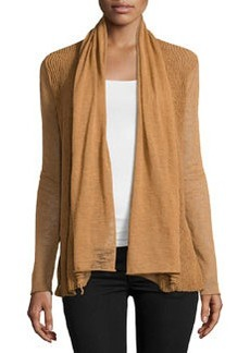 Lafayette 148 New York Wave-Stitch Draped Cardigan, Cumin