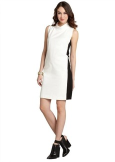 Lafayette 148 New York white and black stretch cotton 'Iona' funnel neck sleeveless dress