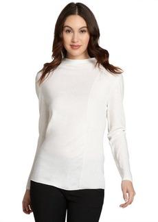 Lafayette 148 New York white wool mock neck and raised seam sweater