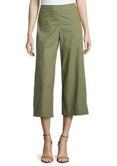 Lafayette 148 New York Wide-Leg Cropped Pants, Thyme