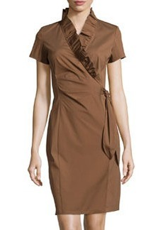 Lafayette 148 New York Winfrey Ruffled Faux-Wrap Dress, Coconut