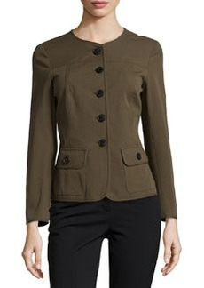Lafayette 148 New York Winter Twill Bracelet-Sleeve Jacket, Loden