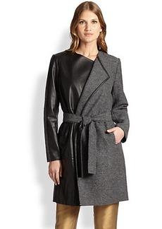 Lafayette 148 New York Wool & Leather Fiona Coat